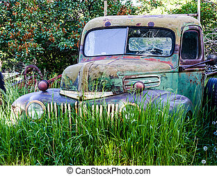 Vintage Abandoned Truck in Field - Abandoned green and blue...