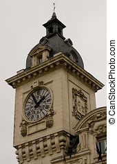 Clock tower of Bayonne train station. Aquitaine, France -...