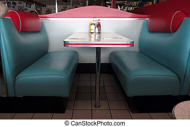 Retro Diner Booths - These turquoise and red leather booths...