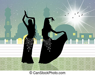 belly dance - illustration of belly dance