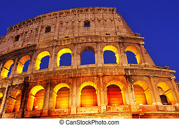 the Coliseum in Rome, Italy, at night