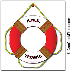 Titanic - A typical RMS Titanic lifebelt with text and...