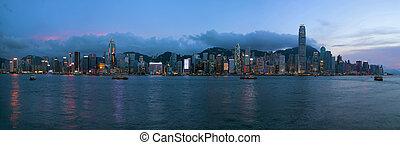 Hong Kong Island Central City Skyline Evening