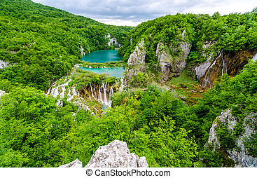 Waterfalls Plitvice lakes - Waterfalls in Plitvice National...