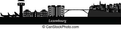 luxembourg skyline with airport and bridge