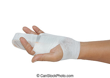 Hand injury ,hand with a splint on the middle finger