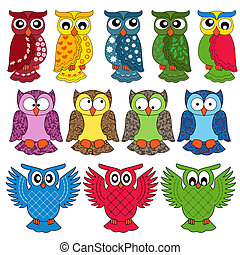 Set of eleven owls - Set of eleven colourful vector owls...