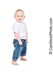 boy in jeans - Full length portrait of a cute baby boy...