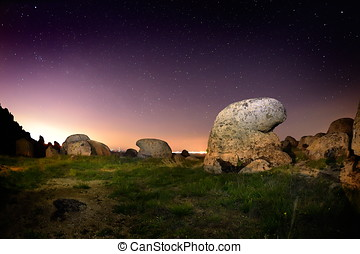 landscape by night in Dobrogea, Romania