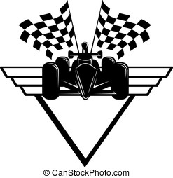 Race Car with Checkered Flags & Shield - Indy style of race...