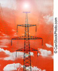 Electricity pylon with shine on red background.