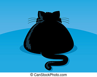 Fat Cat - Illustration of an overweight black cat