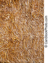 Bale of straw closeup background