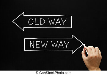 Old Way or New Way - Hand drawing Old Way or New Way concept...