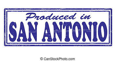 Produced in San Antonio - Stamp with text produced in San...