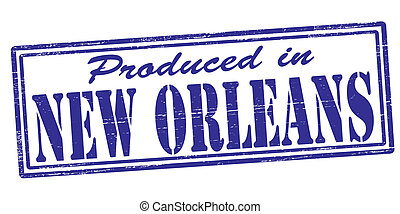 Produced in New Orleans - Stamp with text produced in New...