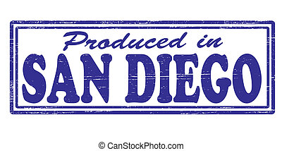 Produced in San Diego - Stamp with text produced in San...