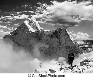 Beautiful view of Ama Dablam with tourist and beautiful...