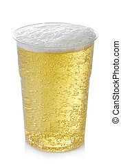Cider - Plastic glass of cider isolated on white background