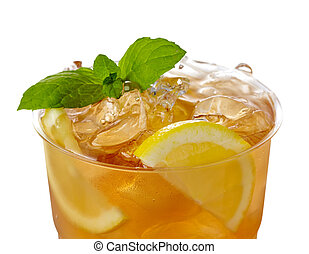 Ice tea - Plastic glass of lemon ice tea isolated on white...