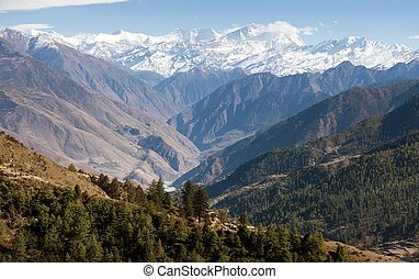 Lower Dolpo - landscape scenery around Dunai, Juphal...