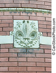Fleur-de-lis - Beautiful carved fleur-de-lis on the side of...