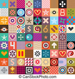 Abstract symbols and patterns - Vector seamless wallpaper...