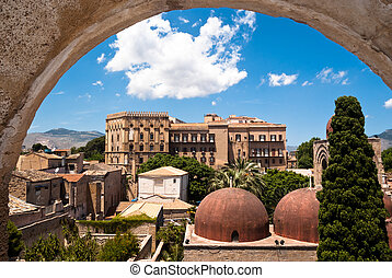 Norman palace and San Giovanni Eremiti domes in Palermo -...