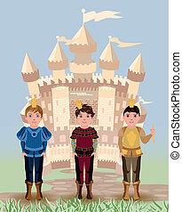 Three little prince and fairy tale castle, vector