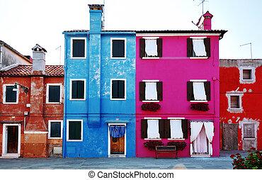 Venice, Burano island, colorful houses, Venezia, Italy