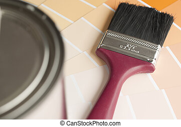 Choosing your color with sample color chart ; focus on paint brush