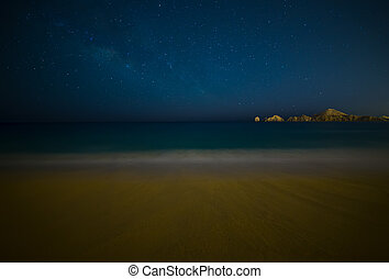 Milky Way Over Beach in Cabo San Lucas Mexico - Cabo San...