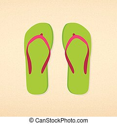 Green with pink striped flip flops on beach sand backgound