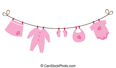 Baby Clothes - vector baby girl clothes with strawberries