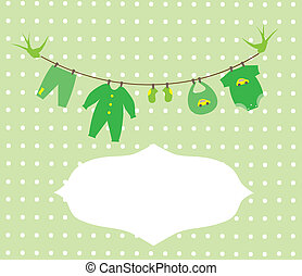 Baby Clothes - vector baby shower card