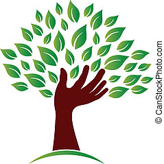 Hand on ecology awareness image. Concept of tree hand, logo