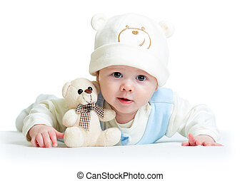 funny baby weared hat with plush toy