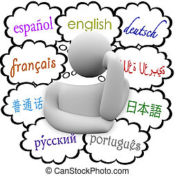 Languages Thought Clouds English Spanish German French -...