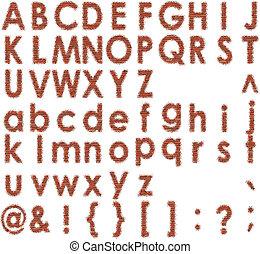 Brick font - Set vector brick digit alphabet