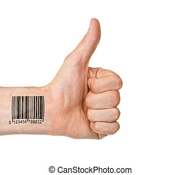 Thumb up with barcode, isolated on white
