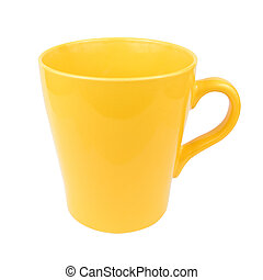 Yellow mug cup for coffee tea water on white background...
