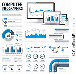 Information technology statistics infographic elements...
