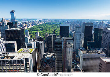 Aerial view of Manhattan central park  in New York - USA