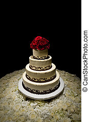 Traditional Round Four Tiered Wedding Cake - Image of a...