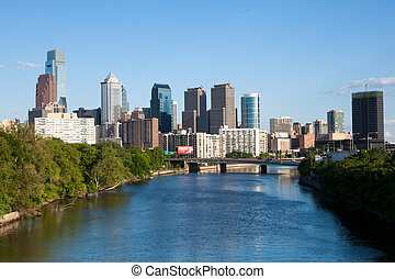 Skyline view of Philadelphia, Pennsylvania - Skyline view of...