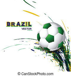 Beautiful Brazil flag concept grunge wave card Soccer...