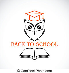 Vector image of an owl with college hat and book isolated on...