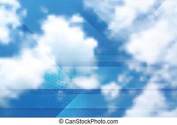 Tech cloudscape collage. Gradient mesh