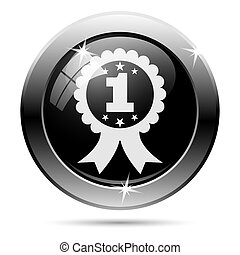First prize ribbon icon Metallic internet button on white...