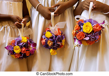 Three Flower Girls Holding Ball Bouquets - Image of three...